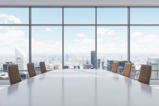 Panoramic conference room in modern office in New York City.