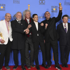 Jim Beach, Roger Taylor, Brian May, Rami Malek, Graham King, Mike Myers