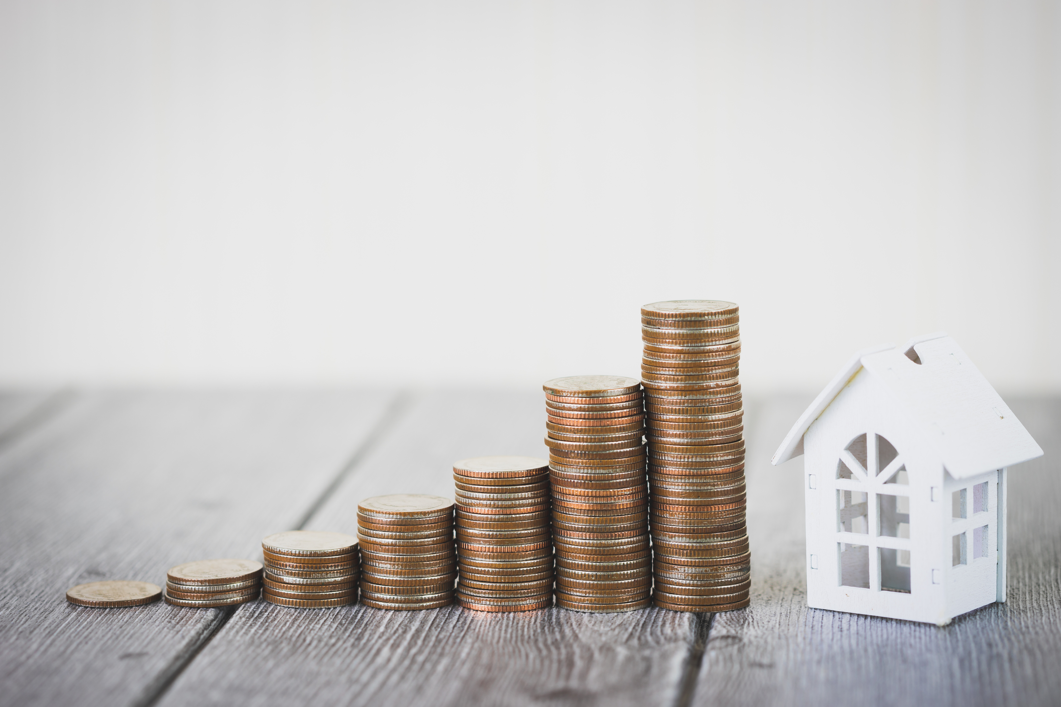 Money of coin stack step up growing growth with model white hous