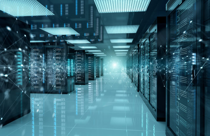 Connection network in servers data center room storage systems 3D rendering
