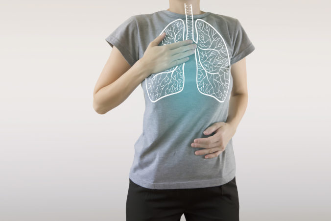 Graphic visualisation of healthy human lungs highlighted blue