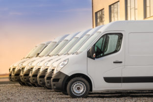Commercial delivery vans in row