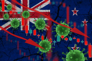 Flag of New Zealand, falling currency on background of flag and fluctuations in prices and viruses. Crisis concept with falling stock prices of companies against the backdrop of coronovirus pandemic.
