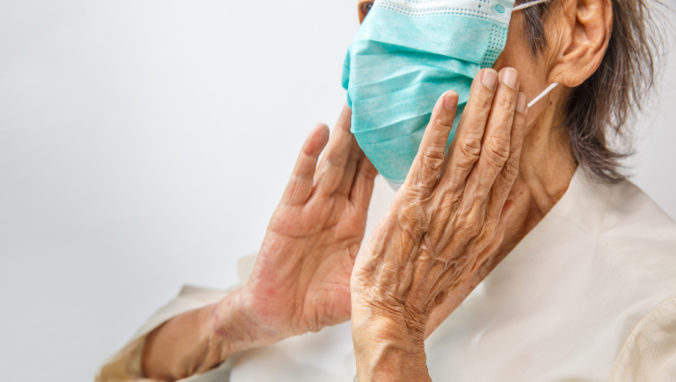 Elderly woman wearing a mask to protect from coronavirus covid 19
