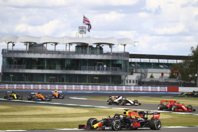 Red Bull driver Max Verstappen of the Netherlands steers his car during the British Formula One Grand Prix at the Silverstone racetrack, Silverstone, England, Sunday, Aug. 2, 2020.