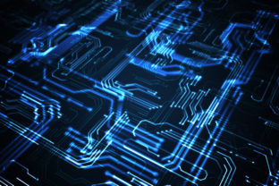 Quantum computing concept. Abstract glowing electronic circuit.