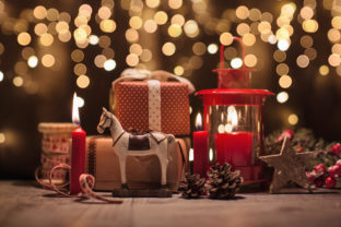 Christmas decorations with gifts