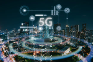 Modern city with smart 5G