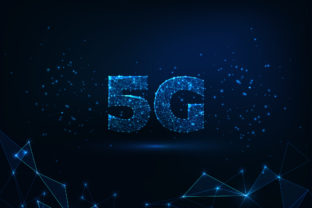 Futuristic glowing low polygonal fast 5G internet connection concept on dark blue background.