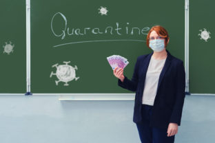 """Woman teacher in a medical mask holds money in euros at the blackboard with the words """"Quarantine"""". Concept of money problems during isolation due to flu virus."""