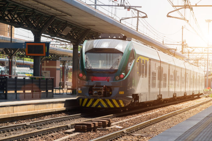 Train in railroad station in Northern Italy.