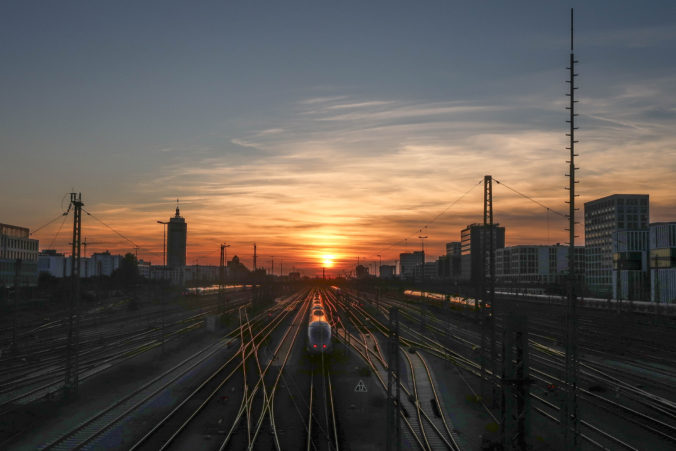 Sunset on the railroad and train station
