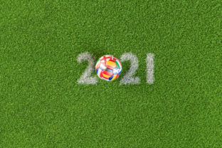 3D render: Soccer ball with flags of all hosting countries of European Soccer Championship shifted to 2021 (Germany, France, Netherl., Italy, Romania, Hungary, Spain, England, Scotland, Denmark, Ireland, Russia)