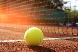 Symbolic image: Tennis court with ball and net, close up
