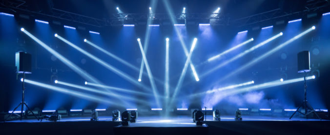 Stage for live concert Online transmission. Business concept for a concert online production broadcast in realtime as events happen. Stage for online live concert Concert live streams available online