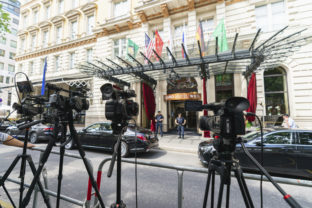 TV cameras in front of the 'Grand Hotel Vienna' where closed-door nuclear talks take place in Vienna, Austria, Sunday, June 20, 2021. ()