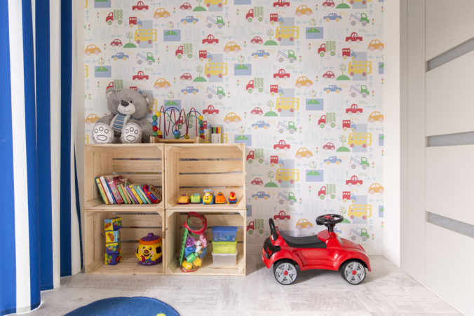 Small,Room,With,Colorful,Wallpaper,Designed,For,Boy.,By,The