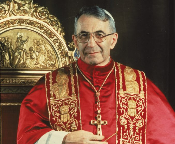 A 1978 photo of Pope John Paul I standing before the papal throne in Vatican City. Pope Francis has approved crediting a miraculous healing to one of his late predecessors, John Paul I. Francis' signing off on the 2011 recovery in Argentina of a child moves John Paul I along the path toward possible sainthood. John Paul was pontiff from Sept. 3 till Sept. 28, 1978, when he was found dead in his bed. ()