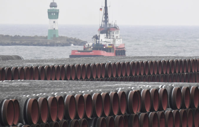 Pipes for the Nord Stream 2 Baltic Sea gas pipeline are stored on the premises of the port of Mukran near Sassnitz, Germany, Friday, Dec. 4, 2020. The port of Mukran on the island of Ruegen is considered the most important transhipment point for the construction of the pipeline. ()