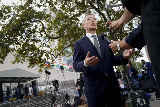 Secretary General, is interviewed outside the United Nations headquarters, Tuesday, Sept. 21, 2021, during the 76th Session of the U.N. General Assembly in New York. ()