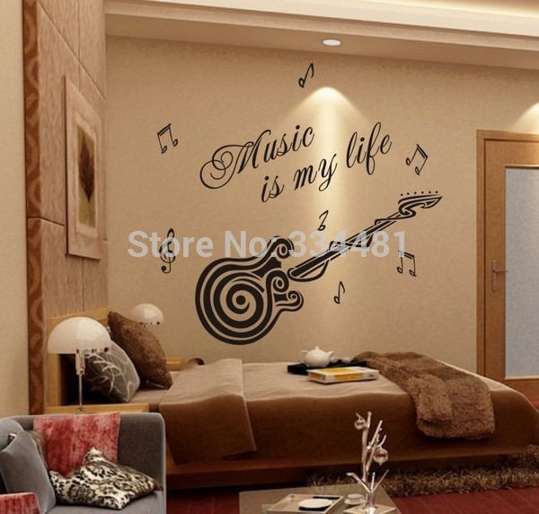 Wall quotes removable wallpaper stickers guitar decoration interior design lettering music boys wall stickers.jpg