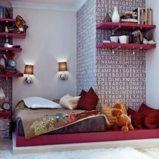 Post_bedroom endearing minimalist teenage girl bedroom ideas with gray combined red mattress and brown blanket also red pillow plus red wooden floating bookshelves with white wall wallpaper and twin brown 1.jpg