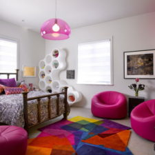 Post_fantastic bedroom for children with white and magenta color decoration also striking colorful rug.jpg