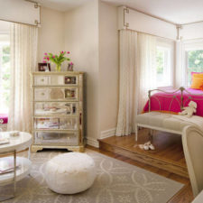 Post_mirrored bedroom furniture with pink room ideas and pouf ottoman also bay window plus window seat and beige walls also orange pillows plus bedroom benches.jpg