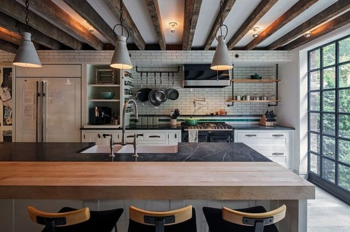 Industrial kitchen in the new york townhouse with a modern appeal.jpg