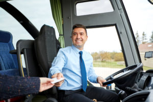 Transport,,Tourism,,Road,Trip,And,People,Concept, ,Smiling,Bus