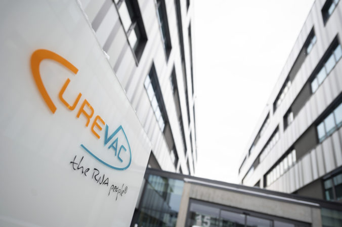 """The logo of the biotech company Curevac with the slogan """"the RNA people"""" is displayed at the company headquarters in Tuebingen, Germany, Thursday, Jan. 7, 2021. Through the cooperation with the pharmaceutical company Bayer, Curevac hopes to be able to use its Corona vaccine this summer."""